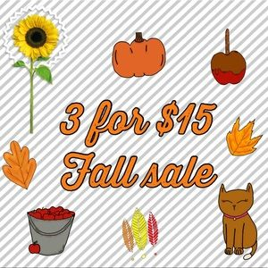 3 for $15 sale is back!!